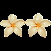 Vintage Plumeria Hawaiian Frangipani Flower Blossom Screw Back Earrings Honolulu Hawaii
