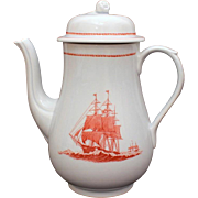 Wedgwood Porcelain Coffee Pot Flying Cloud Pattern in Rust Georgetown Collection Transferware