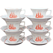Wedgwood Porcelain Cup & Saucer Set of 6 Flying Cloud Pattern in Rust Georgetown Collection Tr