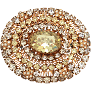 Austrian Crystal Filigree Pin in Pale Yellow & Clear Rhinestones, Layered Design, Rasied Roset