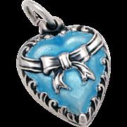 Vintage Sterling Puffy Heart Charm Robins Egg Blue Enamel Raised Ribbon & Bow Design