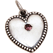 1940s Sterling Puffy Heart Charm February Birthstone, Amethyst Birthday, Anniversary Glass Rhi