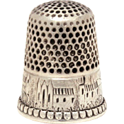 Antique Sterling Thimble, Engraved Scene with Church House Castle Mountains Hills