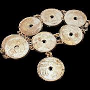 ca. 1927 Belgian Coins Bracelet, Silvertone Coin Souvenir of Belgium, Authentic 10 Centimes Da