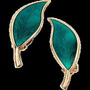 David Andersen Norway Gold Washed Sterling Green Enamel Earrings