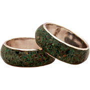 SALE PENDING 2 Mexican Sterling Claystone Overlay Stack Rings, Signed ECJ Eagle Assay 3, Vinta