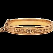Antique Hayward Gold Filled Hinged Bangle Bracelet with Black Enamel Floral Design