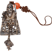 Antique Chinese Hat Ornament Immortal Deity with Shepherds Crook & Deer, Dangle Pomegranate Ch