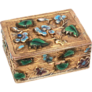 SOLD Chinese Enamel Pill Box Trinket Box Enameled Repousse Leaves & Flowers
