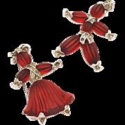 TRIFARI 1949 Pom Pom & Tom Tom Girl and Boy Rag Doll Pin Set - Ruby Red Poured Pressed Glass R