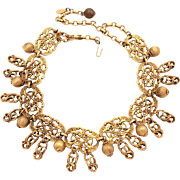 KJL Kenneth Jay Lane Russian Gold Tone Dangle Necklace, Egyptian Revival Lotus Blossoms, 1960