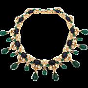 Jomaz Moghul Jewels of India Faux Emerald Sapphire Gold Tone Choker Necklace Circa 1950