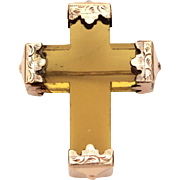 Victorian Glass Cross Pin, Thick Yellow Crystal Brooch, Antique Christian Symbol