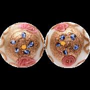 Venetian Wedding Cake Bead Earrings White & Pink with Aventurine, Glass Button Earrings, Vinta