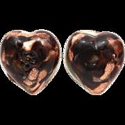 Venetian Glass Earrings Heart Shape Black and Clear Swirled with Aventurine, Glass Button Earr