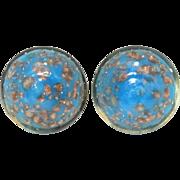 Blue & Aventurine Venetian Glass Earrings, Italian Goldstone Glass Button Earrings