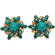 Hattie Carnegie Earrings Peking Glass & Dark Emerald Green Marquis Rhinestones