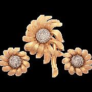 Jomaz Ciro Matching Set Pin & Earrings Textured Gold Tone Flower Petals Pave Rhinestone Center