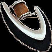 Signed Sigi Pineda Mid-Century Modern Sterling & Tiger Eye Stone Pin, Boomerang Biomorphic Bro