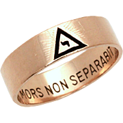 10k Gold & Black Enamel 14th Degree Masonic Yod Ring, Scottish Rite Masons, Size 10 1/4