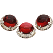 Trifari Red Cabochon & Clear Baguette Rhinestone Pin and Earring Set