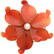 Chinese Silver Carved Carnelian and Pearl Flower Pin, Sterling Chinese Brooch