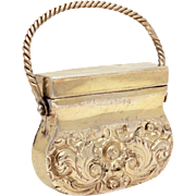 Georgian Silver Vinaigrette circa 1820 by Ledsam Vale & Wheeler, Sterling Novelty Purse Shape