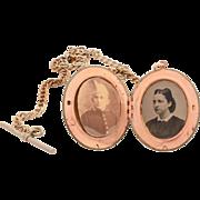 Brass & Steel Picture Locket on Matching 2 Tone Watch Chain, Vintage Pocket Watch Chain, Photo