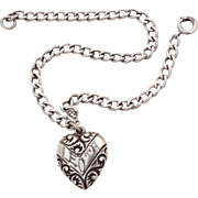 1940s Sterling Puffy Heart Charm on Sterling Curb Link Chain Bracelet, Engraved Name Leota Hop