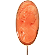 Antique Carved Coral Cameo 14k Gold Stickpin, Edwardian Stick Pin