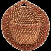 Vintage Native American Pine Needle Wall Basket, Match Holder, Hanging Basket, Wall Pocket, Ha