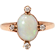 Antique 14k Opal Diamond Ring, Mine Cut Diamonds, Vintage Edwardian Ring, October Birthstone,