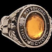 Pittsford High School Miniature Class Ring Bracelet Charm, Vintage Sterling Charm, Small Neckl
