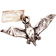 Vampire Bat Sterling Bracelet Charm, Carlsbad Caverns New Mexico, Vintage Travel Souvenir from