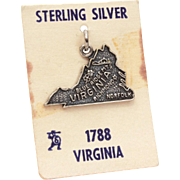State of Virginia Sterling Charm NOS on Card Travel Souvenir, Bracelet Charm with Norfolk, Ric