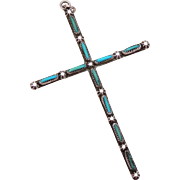 Vintage Sterling Native American Zuni Long & Thin Cross Pendant with Petit Point Turquoise, Bl