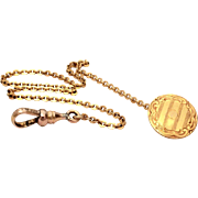 Antique Button Hole Watch Chain, Art Deco Engine Turned Engraving, Pocket Watch Chain, Signed