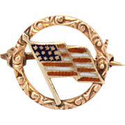 Antique 10k Gold Enamel US Flag Pin Patriotic Brooch Tiny Jewelry - Red, White, and Blue Ename