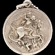 SOLD Saint George Slaying Dragon Creed Sterling Catholic Medal St. George Guard Us, Vintage Me