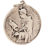 Vintage Sterling Catholic Medal St. Dominic, Founder of Dominican Order, Saint Dominic Medal,