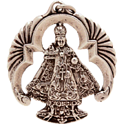 Infant of Prague Sterling Pendant or Large Charm, Infant Jesus of Prague Catholic Medal, Vinta