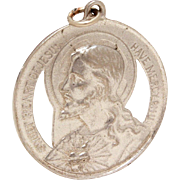 Sacred Heart of Jesus Sterling Medal, Vintage Catholic Medal, Sweet Heart of Jesus Have Mercy