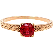 Antique 14k Ruby Ring, 14k Gold Solitaire, Synthetic Ruby Wedding Engagement Ring, 14K Yellow