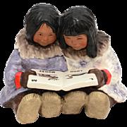 1988 C. Alan Johnson Molly and Sue Eskimo Girls Reading ABC Book, Pottery Figurine AF 112, Nat