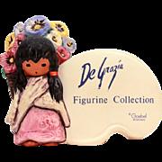 Vintage DeGrazia Goebel Display Store Shop Sign Advertising, DeGrazia Flower Girl Figurine Col