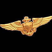 Vintage United States Navy and Marine Corps Aviation Pilot Wings Gilt Finish, Vanguard Wings U