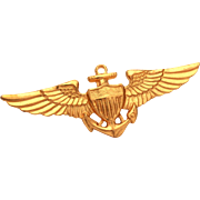 Vintage United States Navy and Marine Corps Aviation Pilot Wings Gilt Finish, Vanguard Wings U