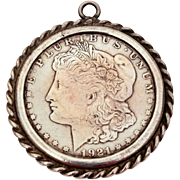 1921-S Morgan Silver Dollar Set in Sterling Pendant, Coin Jewelry, Unisex Necklace Pendant