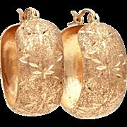 14k Gold Hoop Earrings Pierced, Textured Gold with Engraved Star Burst Design