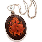 Reverse Carved Amber Sterling Necklace, Baltic Amber Pendant, Carved Rose Bouquet, Sterling Bo